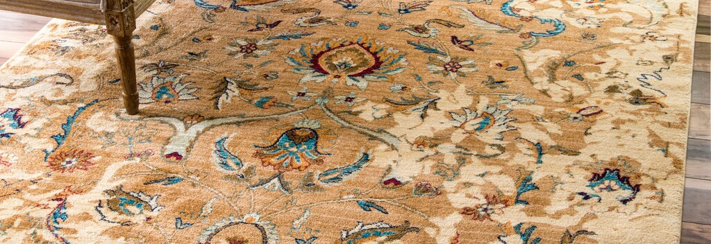 Gold floral classic area rug