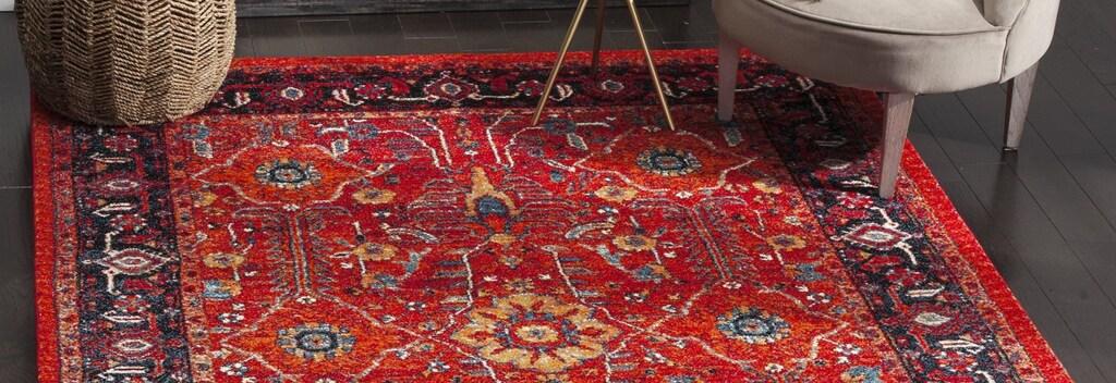 Red distressed vintage area rug