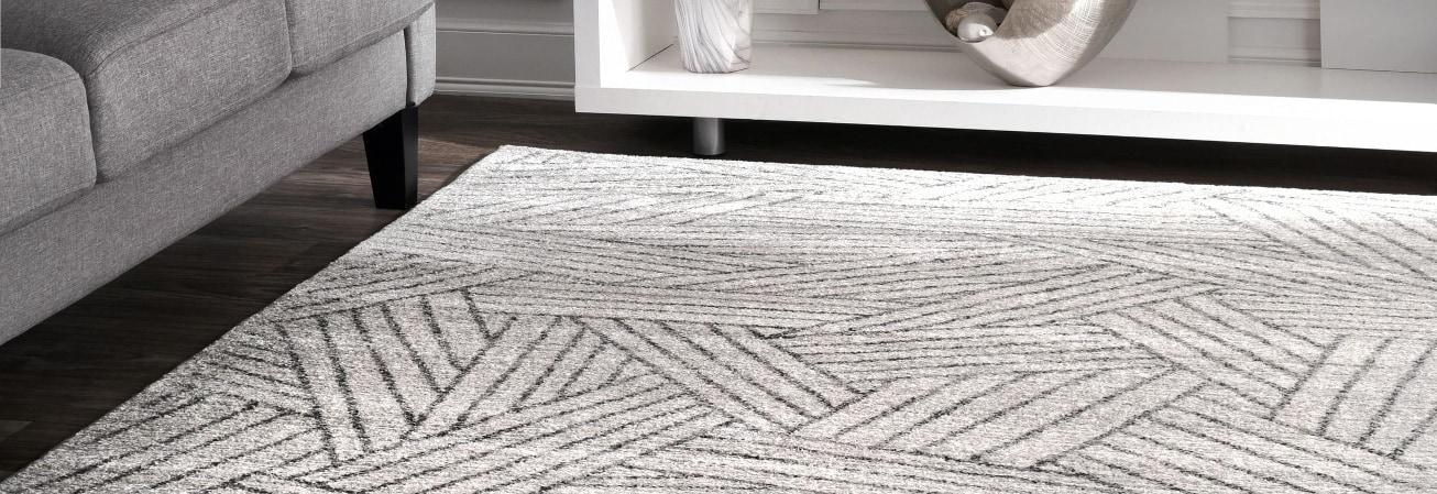 Grey overlapping stripe contemporary area rug
