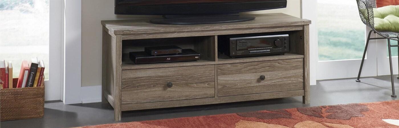 Light brown, wooden TV stand