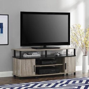 Light, wooden TV stand