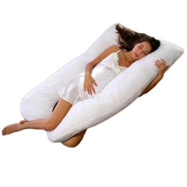 Woman sleeping on a u-shaped body pillow