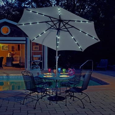 Patio table and umbrella with LED lights
