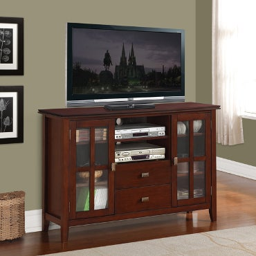 Tall, wood and glass TV stand