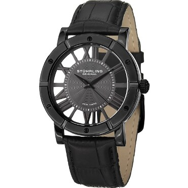 Black Stuhrling watch with leather wristband