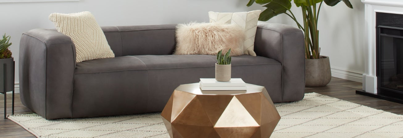 Grey Suede Urban Living Room Sofa