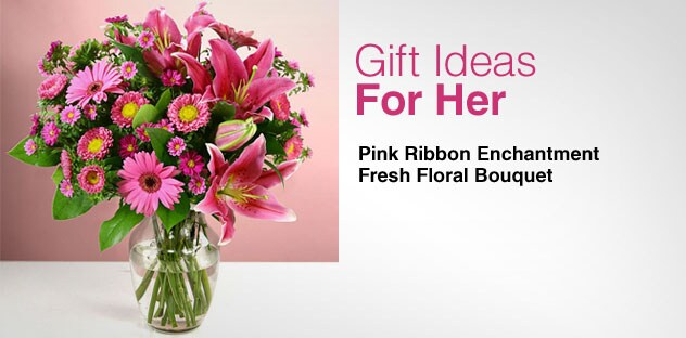 Gift Ideas for Her - Day 11 - Pink Ribbon Enchantment Fresh Floral Bouquet