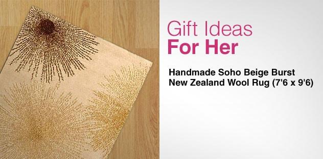 Gift Ideas for Her - Day 14 - Handmade Soho Beige Burst New Zealand Wool Rug (7'6 x 9'6)