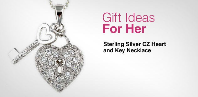 Gift Ideas for Her - Day 1 - Sterling Silver CZ Heart and Key Necklace