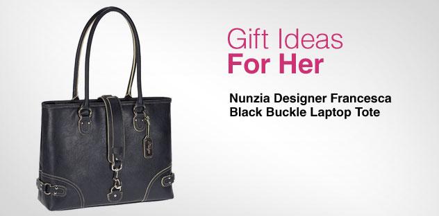 Gift Ideas for Her - Day 3 - Nunzia Designer Francesca Black Buckle Laptop Tote