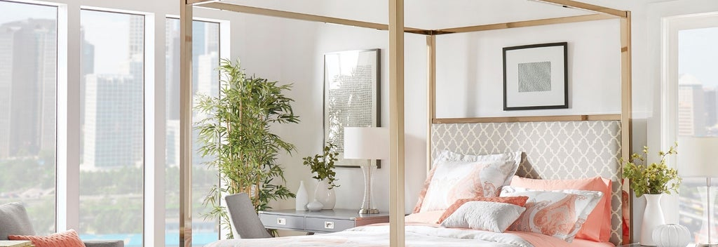 Gold metal canopy bed with headboard