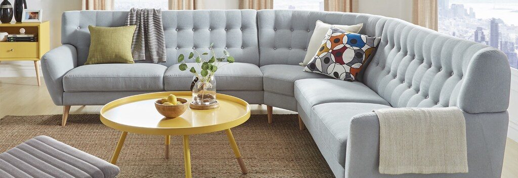 Light blue sectional mid century modern sofa