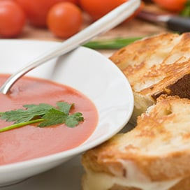 Roasted Tomato Soup with Grilled Cheese Sandwich