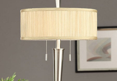 Retro Mid-Century 2-light Brushed Nickel Table Lamp