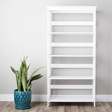 Empty, white bookcase
