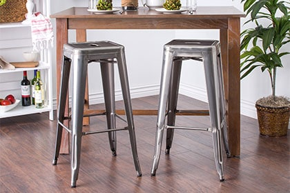 Rectangle pub table with two tall stools