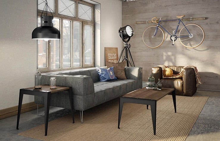 industrial styled living room in a urban loft apartment
