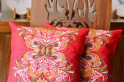 Exotic, colorful throw pillows