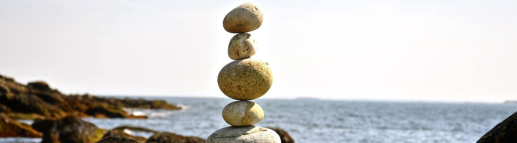 Stack of rocks on a rocky beach