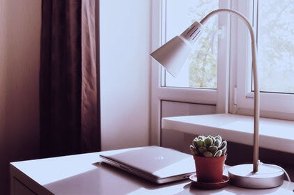 Laptop, lamp, and a potted succulent on a decluttered table