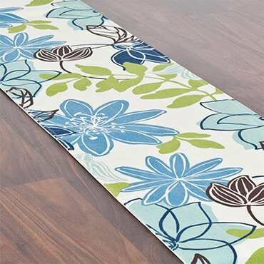 Blue and green floral table runner