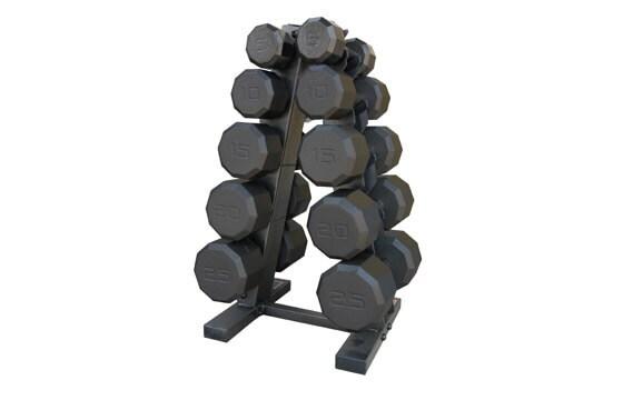 Set of black dumbbells on rack