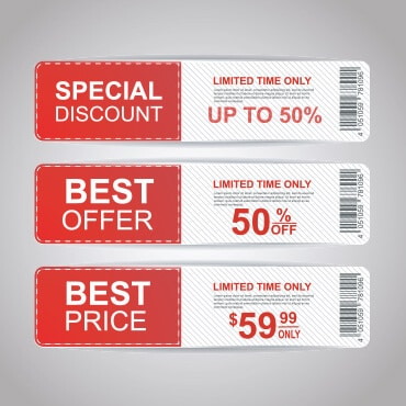 Three different kinds of online shopping coupons