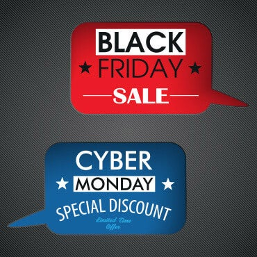 Two word bubbles; one reads 'Black Friday Sale' the other reads 'Cyber Monday Special Discount'