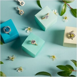 Jewelry Rings on colored boxes