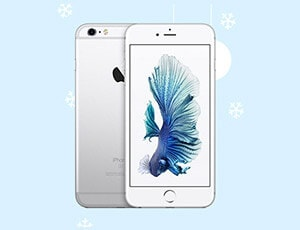 An apple iPhone with a light blue background and ornaments in the background