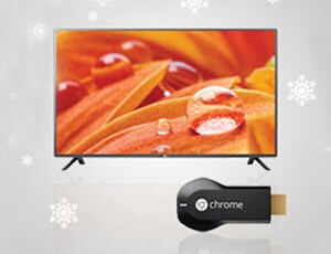 A smart TV and a streaming device with a Christmas garland in the corner of the image   TV's & Streaming
