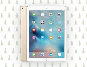 An apple iPad with Christmas trees in the background