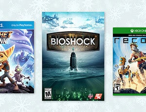 Set of 3 video games with a snowflake background