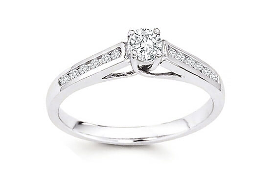 14k White Gold 5/8ct TDW Diamond Channel Set Engagement Bridal Ring