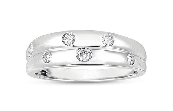 14k White Gold 1/5ct TDW Flush Set Multirow Diamond Band