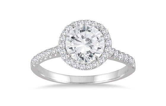 Marquee Jewels 14k White Gold 2ct TDW TDW Halo Diamond Engagement Ring