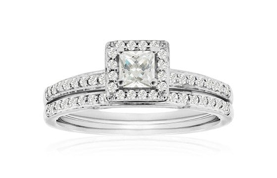 Women's 14k White Gold 1/2 Carat TDW Micro Pave Diamond Bridal Set, Princess Center