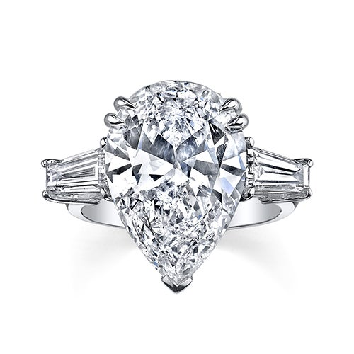 A pear cut diamond