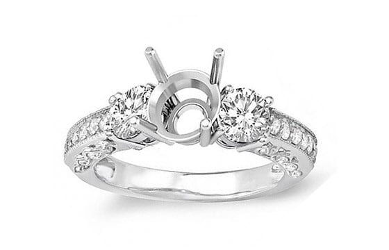 14k White Gold 3/4ct TDW Diamond Bridal Semi-mount Engagement Ring