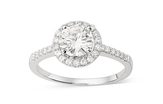 Charles & Colvard 14k Gold 1.30 TGW Round Forever Brilliant Moissanite Halo Engagement Ring