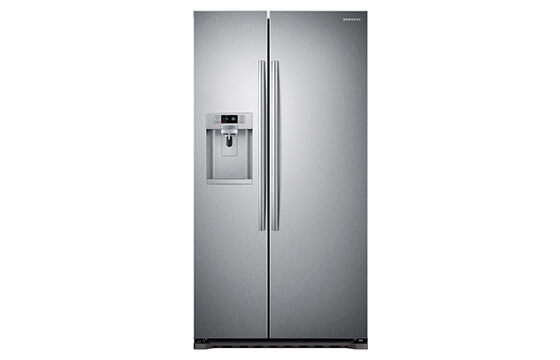 Samsung counter depth side-by-side refrigerator in stainless steel