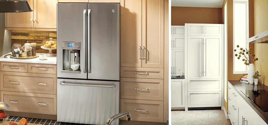 Two different refrigerators shown in different kitchens. One is stainless steel, and the other is a fully integrator refrigerator with white wood.