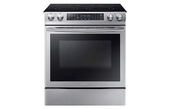 Samsung electric smoothtop range in stainless steel
