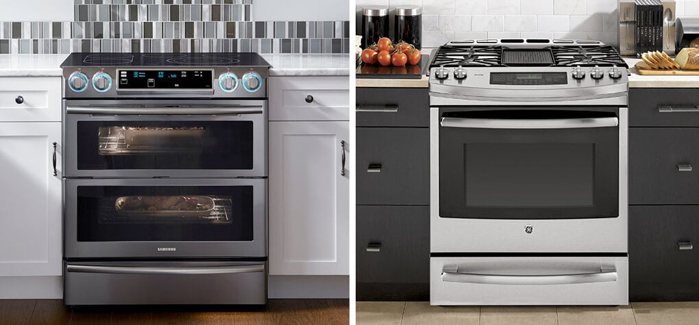 Close up of two different ranges in two different kitchens. One is an electric stove and the other is a gas stove