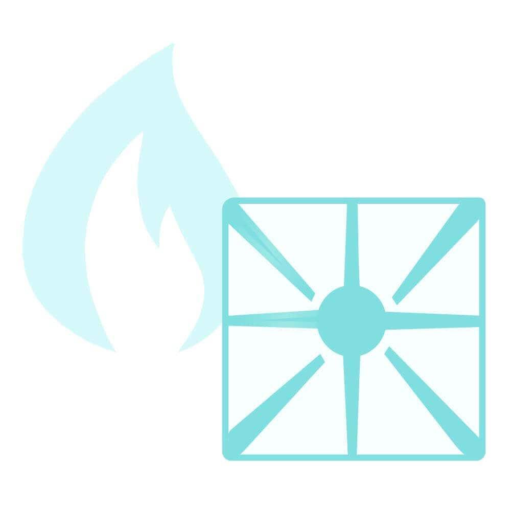 Illustration of gas range cooktop