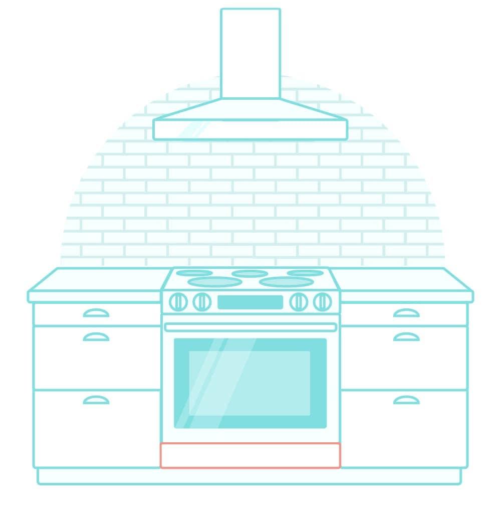 Illustration of slide-in kitchen range