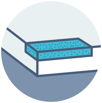 Illustration showing the different layers of gel memory foam mattress
