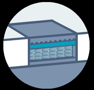 Close up illustration of a hybrid mattress