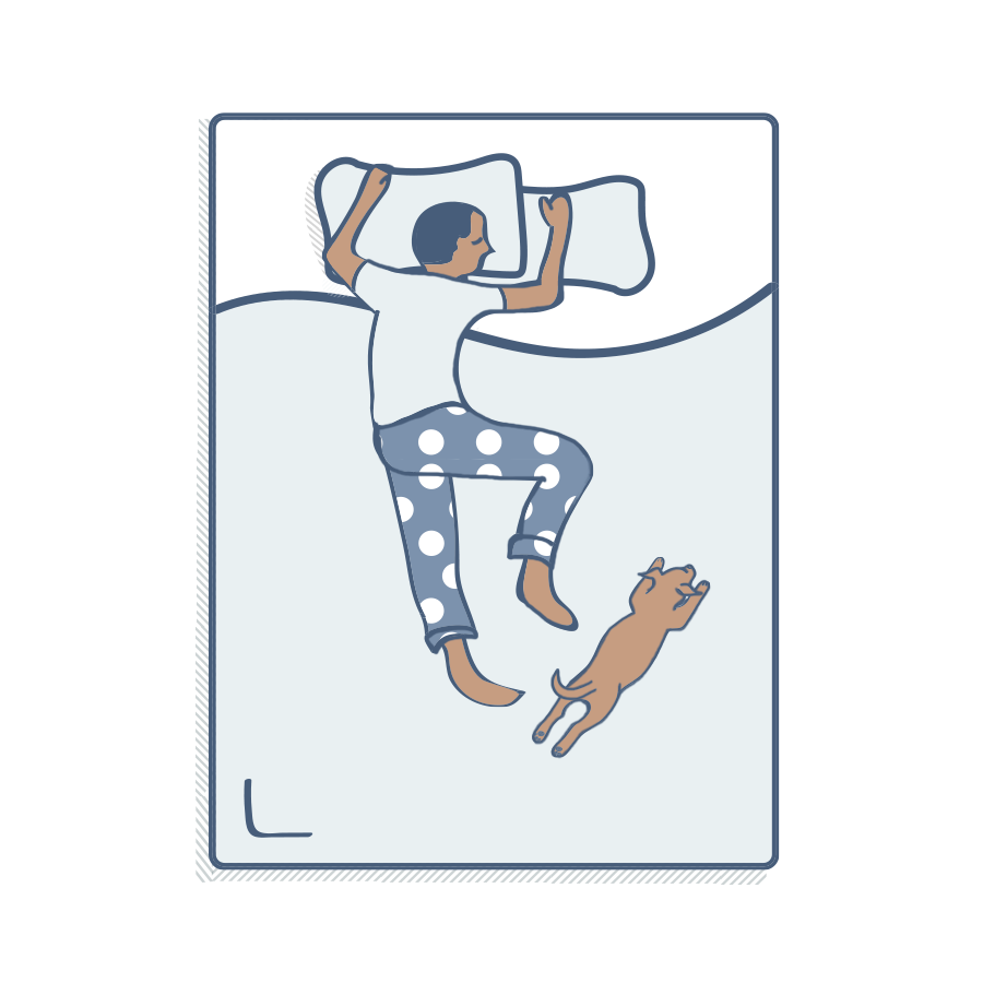 Illustration of a person sleeping on their stomach