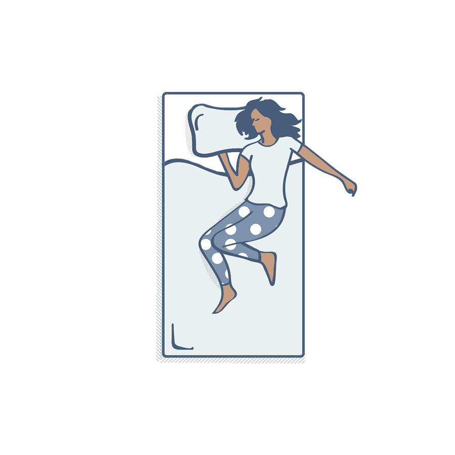 Illustration of woman sleeping on bed